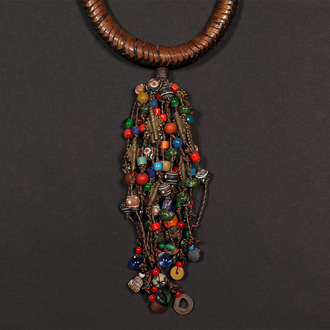 Elaborate necklace with Old African Trade Beads