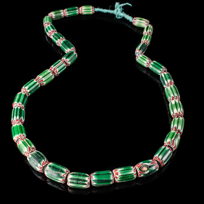Necklace with Green and White Chevron Trade Beads