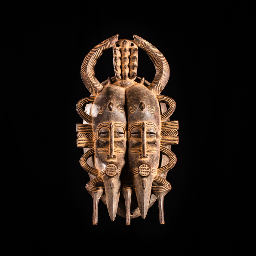 Kpelie Double Face Mask, Senufo Tribe, Ivory Coast