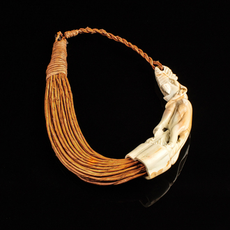 Carved bone leather choker necklace