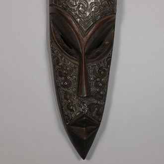 Hand Carved Metal-Plated Wood Mask