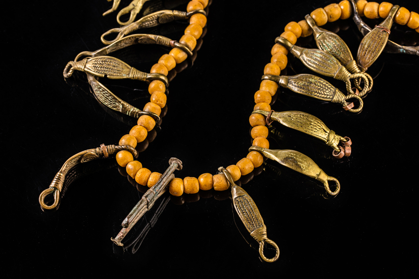 Naga Tribal Bead Necklace with Brass Beads and Yellow Konyak Beads