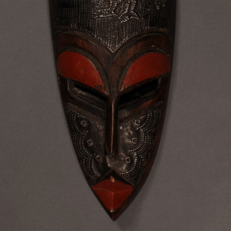 Metal-Plated Hand Carved Wood Mask
