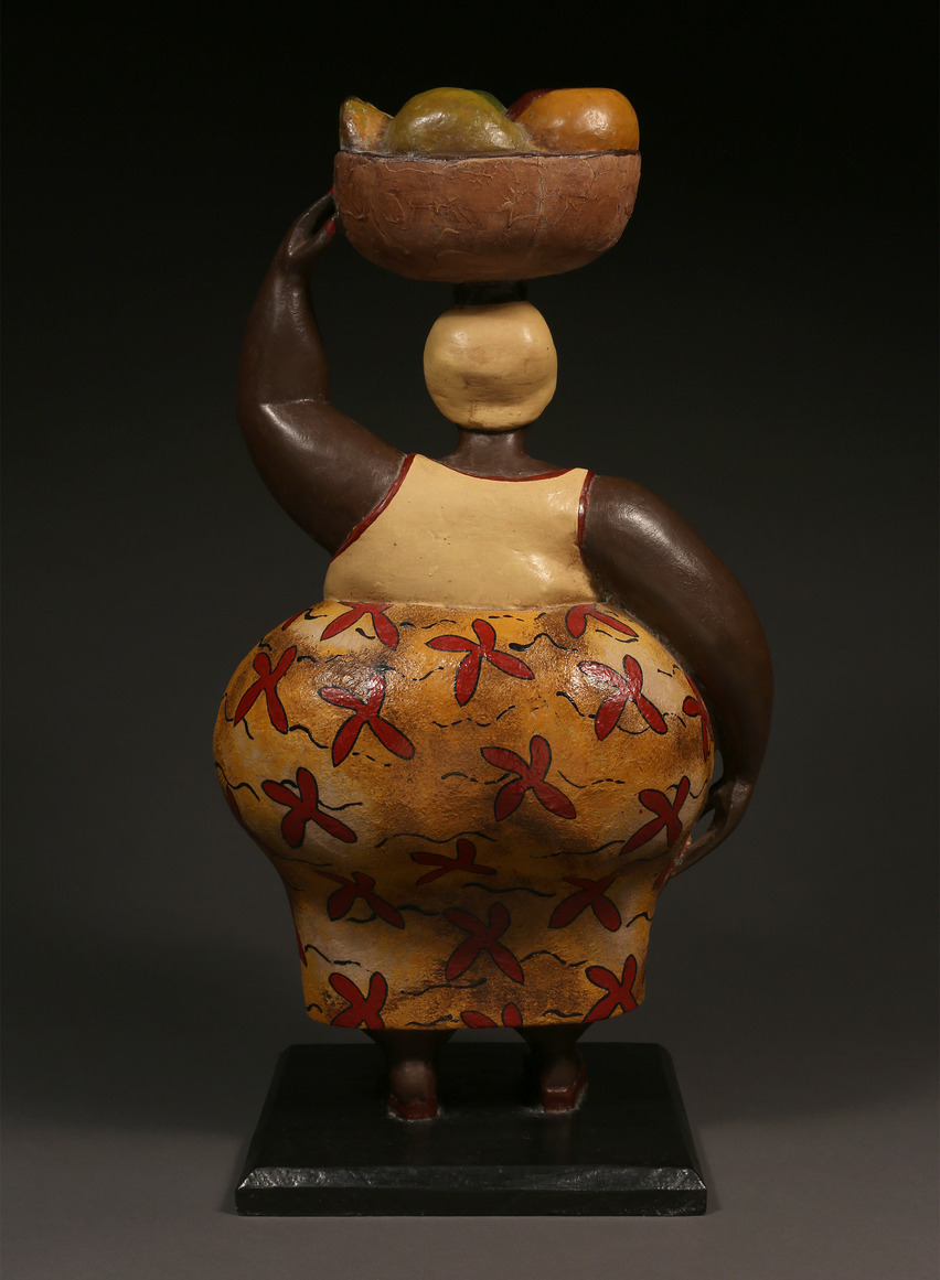 Colonial Figure, Woman Carrying Fruit Basket, Ivory Coast