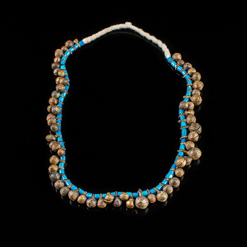 Naga, Tribal Necklace, with Brass Bells Beads, and Blue Glass Beads
