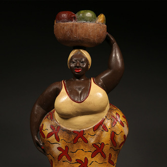 Colonial Figure: Woman Carrying Fruit Basket