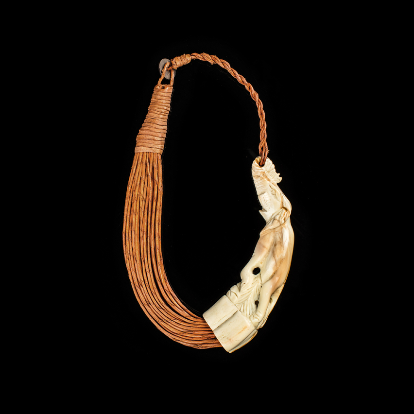 Carved bone leather choker necklace, african, tribal